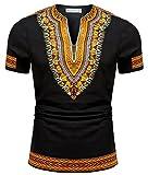 Shenbolen Men's African Print Shirt Dashiki Fashion T-Shirt Tops (4X-Large,A)