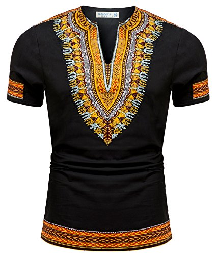 Shenbolen Men's African Print Shirt Dashiki Fashion T-Shirt Tops (Small, A)