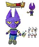 PBP Dragon Ball Super - Peluche Bills, dio della Distruzione Beerus, umanoide di pelle viola e aspetto del gatto 30 cm Qualità super soft + 1 portachiavi casuale Sonic