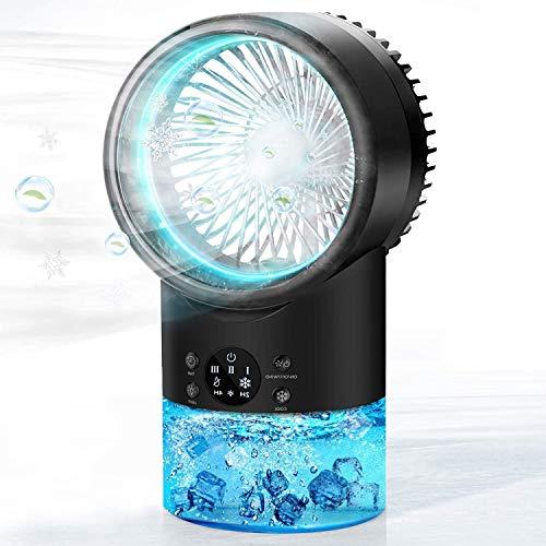 Enfriador de Aire Portátil, Mini Enfriador Evaporativo con luz Nocturna de 7 colores, Aires Acondicionados Móviles Personal, Ventilador de Escritorio Para Dormitorio, Oficina