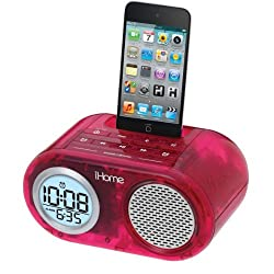 IHOME IH33 SDI TECHNOLOGIES-PERSONAL & PORTABL DUAL ALARM CLOCK FOR IPOD DUAL ALARM CLOCK TRANSLUCENT PINK