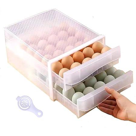 HappyBeeYo 60 Grid Large Capacity Egg Holder for Refrigerator, Household Egg Fresh Storage Box for Fridge, Drawer Type Egg Container Case