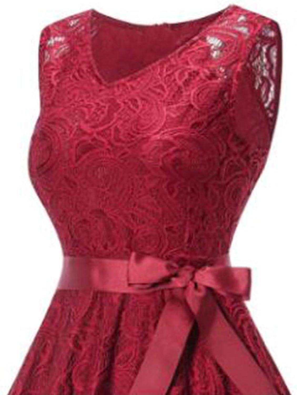 LYQTONG Lace Large Swing Skirt Hot New VNeck Sleeveless Lace Large Swing Skirt, Red, 3XL
