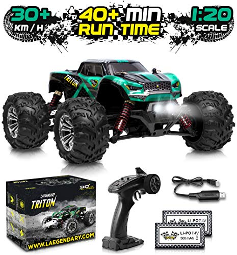 1:20 Scale RC Cars 30+ kmh High Speed - Boys Remote Control Car 4x4 Off Road Monster Truck Electric - 4WD All Terrain Waterproof Toys Trucks for Kids and Adults - 2 Batteries for 40+ Min Play Time