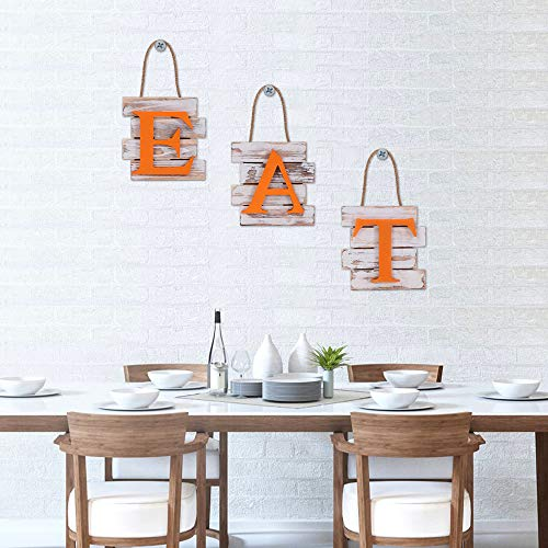 """MALOROY Rustic EAT Sign Wall Decor Orange Kitchen Signs for Dinning Room& Eatery Decorative Wooden Letters with Hanging Rope for Modern Farmhouse 24""""x7.8"""""""