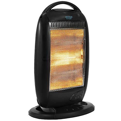 Cecotec Radiador Eléctrico Bajo Consumo Ready Warm 7200 Rotate Smart. Digital, 1200W, Oscilación, Termostato regulable, 3 Niveles, Rejilla de seguridad, Antivuelco, Mando a Distancia
