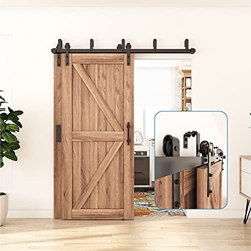 ZEKOO 4FT - 16FT Double Track Bypass Barn Door Hardware Kit Low Ceiling Wall Mount for Closet Double Wooden Doors (6.6FT Bypass kit)