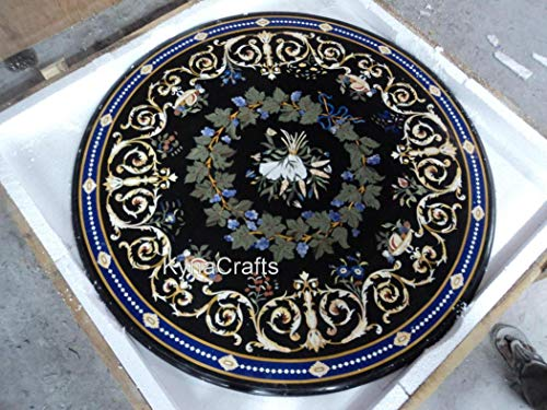 40 x 40 Inches Modern Design Black Marble Inlay Table Top Pietra Dura Art Dining Table Top with Elegant Look