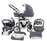 Chilly Kids Dino 3 in 1 Kinderwagen Set (Autosit & Adapter, Regenschutz, Moskitonetz, Schwenkräder) 40 Graphit & Graphit Blumen