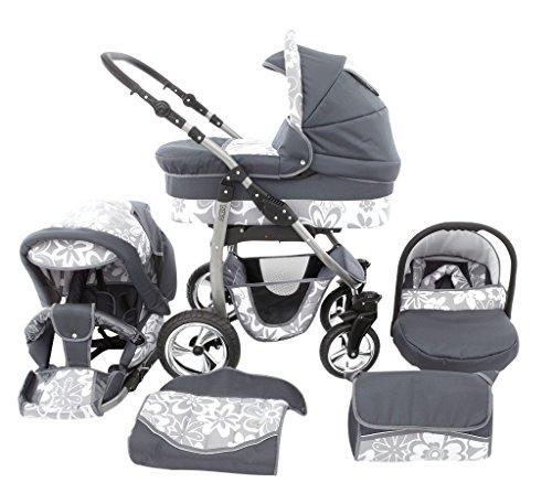 Chilly Kids Dino 3 en 1 Poussette Combinée Kit de voyage (habillage pluie, moustiquaire, roues pivotantes 55 couleurs) 40 graphite & fleurs de graphite