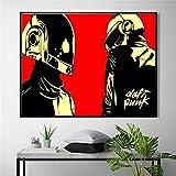 BigMMDream Máscara de Casco Daft Punk, póster Musical e impresión en Lienzo, Pintura artística, Cuadros de Pared para decoración de Sala de Estar, decoración del hogar