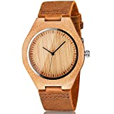 CUCOL Men's Bamboo Wooden Watch with Brown Cowhide Leather Strap Japanese Quartz Movement Casual Watches [並行輸入品]