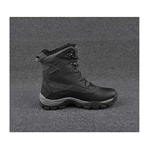 HaoLin Hombres Espacio Cuero Trekking Escalada Goretex Zapatos Magnum Botas De Trabajo Al Aire Libre Impermeable Senderismo Senderismo Botas De Caza,Black-46