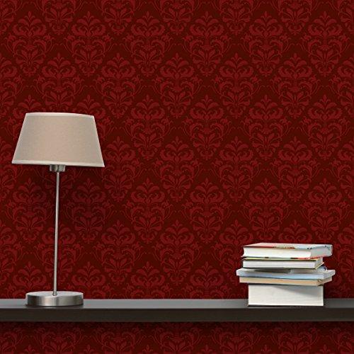 Apalis Vliestapete Roter Französischer Barock Mustertapete Quadrat | Vlies Tapete Wandtapete Wandbild Foto 3D Fototapete für Schlafzimmer Wohnzimmer Küche | Größe: 336x336 cm, rot, 98328