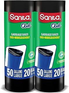 Sanita Club Garbage Bags Twin Pack Roll, 50 Gallons Large, 40 Bags