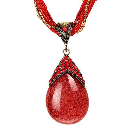 ODETOJOY Bohemia declaración collares mujeres rojo piedra de gotas de agua Rhinestone Gem colgante collar suéter cadena de encanto