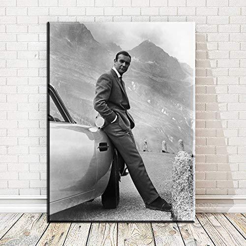 JLFDHR Quadro su Tela 60x90cm Senza Cornice 007, James Bond Goldfinger 1964, Goldfinger Directed Movie Stampa Artistica Poster per Decorazione murale