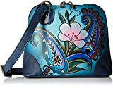 Anna by Anuschka Leather Small Multi Compartment Zip-Around Organizer, Denim Paisley Floral