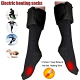 Chengstore Calcetines calefactados con batería, Calentadores de pies de Invierno eléctricos, Calcetines cálidos de algodón térmico de Doble Capa para Hombres y Mujeres