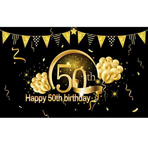 50. Geburtstag Party Dekoration Fotohintergrund, BDDFOTO 2 * 1.5m Extra Große Stoff Schild Poster zum 50. Jahrestag Foto Stand Hintergrund Banner