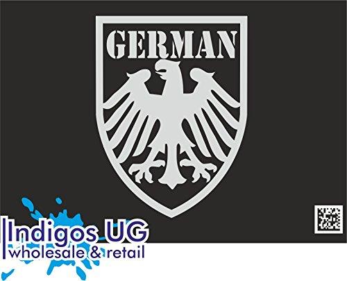 INDIGOS UG - Aufkleber Autoaufkleber - JDM Die Cut - Deutschland - Deutscher Adler - 120x90mm Silber Auto Laptop Tuning Sticker Heckscheibe LKW