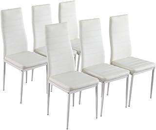 Lot de Chaises de Salle à Manger, Chaise Moderne 40x47x98cm pour Salle à Manger, Cuisine, Salle de Réunion (6X Blanc)