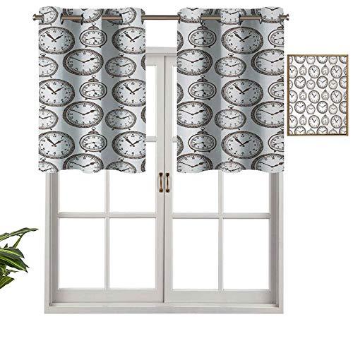 Hiiiman Cenefas de cortina con ojales, reloj de bolsillo vintage con números en él, diseño antiguo, cronómetros, impresión antigua, juego de 1, 91,4 x 45,7 cm para ventana de cocina