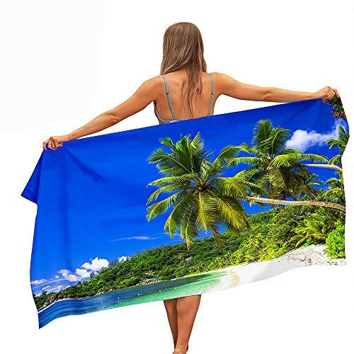 Surwin Grande Toalla de Playa de Microfibra Toalla a Impresión de Secado Rápido Súper Absorbente Natación Toalla de Arena Antiadherente para Playa, 3D Impresión (Árbol de Coco-Cielo Azul,80x180cm)