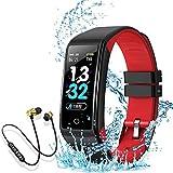 Smartwatch Orologio Intelligente Fitness Tracker Uomo Donna Cardiofrequenzimetro per Monitor da Polso Contapassi Sportivo Activity Tracker Cuffie Bluetooth Sport per iPhone/Xiaomi/Samsung (rosso)