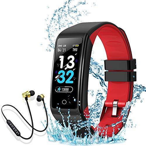 Smartwatch, Reloj Inteligente Mujer Hombre Niños Pulsera, Pulsera de Actividad Inteligente con Contador de Caloría Monitoreo Pulsómetros + Auriculares Bluetooth Deportivos, para Android iOS (rojo)