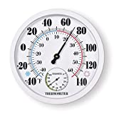 10. Indoor Outdoor Thermometer Large Waterproof Wall Patio Weather Thermometer No Battery Required Hanging Decor (White)