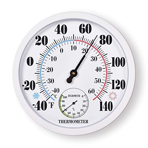 Indoor Outdoor Thermometer Large Waterproof Wall Patio Weather Thermometer No Battery Required Hanging Decor (White)