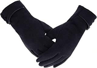Gloves Ladies Winter Warm Gloves Touch Screen Mobile Phone Windproof Lining Thick Gloves (Color : Black)