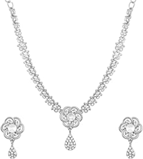 Traditional Crystal Elements CZ Stone Floral Shape Indian Bollywood Necklace Set for Women