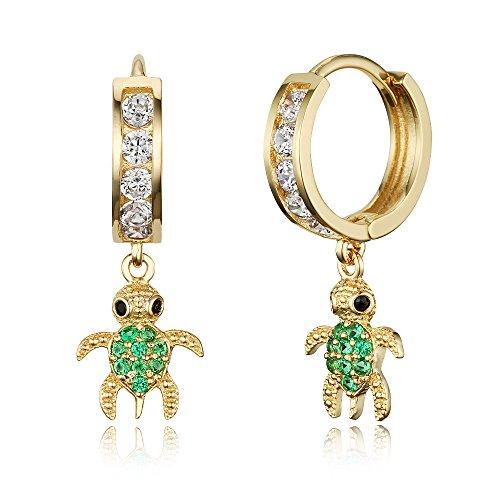 14k Gold Plated Brass Green Turtle Channel Cz Huggy Baby Girls Hoop Earrings