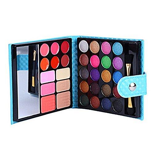 Palette Ombre à Paupières avec Miroir,Poudre de Sourcil,Lèvres Gloss,Style de Portefeuille
