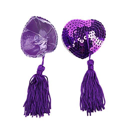 Demarkt Heart Pasties Women Lingerie Tassel Pasties Stickers Breast Bra Nipple Cover (Purple)