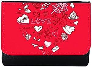 DIYthinker Women's Valentine's Day Red White Black Heart Shaped Angel Arrow Cupcake Flower Kiss Girl Love Illustration Pat...