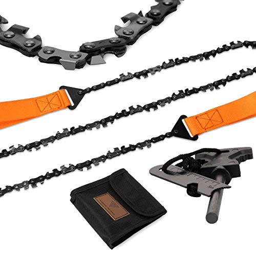 Loggers Art Gens 36''-45Two-sidedTeeth Pocket Chain Saw & FREE Fire Starter,3X Faster with Cutting Blade ON Every Link,Best Compact Folding Hand Saw Tool for Survival Gear,Camping,Hunting.