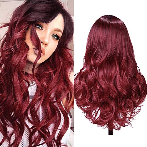 Ombre Wig Red Wigs Long Curly Wavy …