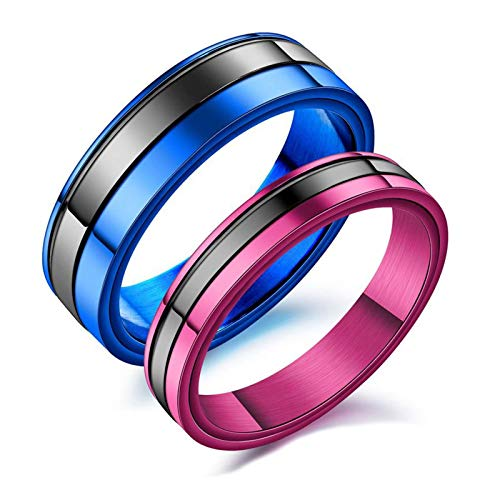 Malinmay Mid Finger Ring Set, Sizer UK Mixing Colours Stainless Steel Couple Rings Blue T 1/2