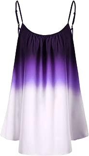 FarJing Hot sale Women's Casual Gradient Sleeveveless Ombre Cami Top Trim Tank Top Blouse