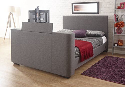 Home Source - Electric TV Bed Television 4ft6 Double Grey Fabric Sprung Slats...