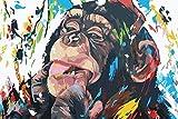 Arte de graffiti de pared lienzo pintura arte animal abstracto lienzo impresión orangután mordiendo dedo para habitación de niños hogar sin marco pintura decorativa A18 30x40cm