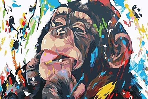 N / A Orangután Mordiendo el Dedo Graffiti Wall Art Canvas Painting para la habitación de los niños Decoración del hogar Animal Art Painting Frameless 50x75cm