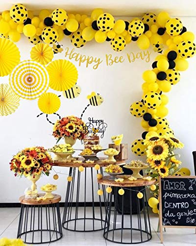 Set of 7 JeVenis Happy Bee Day Banner Happy Bee Day Cake Topper Bumble Bee  Baby Shower Decoration Bumble Bee Balloons for Baby Shower 7st Birthday