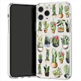 Lex Altern TPU Coque pour iPhone Apple 11 Pro XS Max XR 8 X 7 Plus 6s 5 Léger Transparente Plantes d'intérieur Fille Motif Vertes Doux Kawaii Drôle Étui Cactus Souple Fin Case Téléphone Mignon uk0960