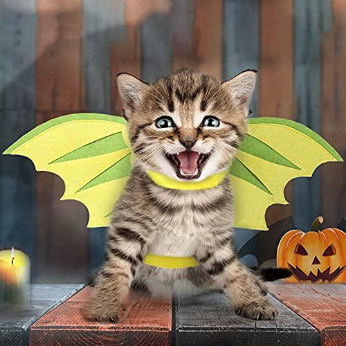 woyada Alas de dinosaurio de gato para decoración de fiesta de Halloween, cuello ligero y esponjoso, disfraz de Halloween para gatos y perros, suministros para mascotas