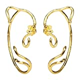 Beauty Belle Ear Crawler Earring Climber Rose The Beast Stud Cuff Ear Wrap Pin Vine Charm Clip On Jewelry Golden Plated