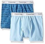 Calvin Klein Little Boy's Kids Modern Cotton Assorted Boxer Briefs Underwear, Multipack, 2 Pack - CK Logo Print Blue Bell, Blue Bell, Extra-Large (16/18)